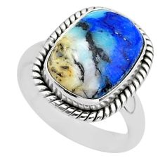 6.82cts solitaire natural blue turquoise azurite 925 silver ring size 7 t37565