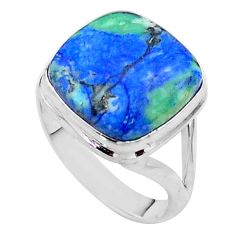 14.39cts solitaire natural blue turquoise azurite 925 silver ring size 9 t44919