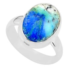 6.10cts solitaire natural blue turquoise azurite 925 silver ring size 6.5 t37588