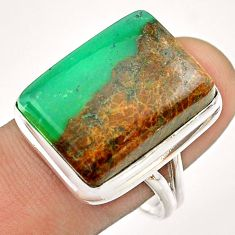17.71cts solitaire natural boulder chrysoprase 925 silver ring size 9.5 t54332