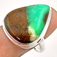 18.03cts solitaire natural boulder chrysoprase 925 silver ring size 9.5 t54333