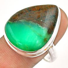 19.00cts solitaire natural boulder chrysoprase 925 silver ring size 10.5 t54335