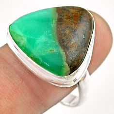 15.85cts solitaire natural boulder chrysoprase 925 silver ring size 9.5 t54336