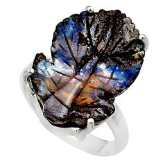 15.58cts solitaire natural boulder opal carving 925 silver ring size 7 t24191
