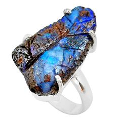 16.25cts solitaire natural boulder opal carving 925 silver ring size 7.5 t24182