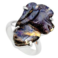 14.47cts solitaire natural boulder opal carving silver ring size 6.5 t24190