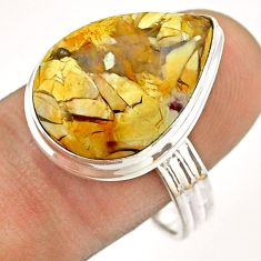 15.11cts solitaire natural brecciated mookaite 925 silver ring size 10 t54326