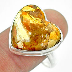 15.23cts solitaire natural brecciated mookaite 925 silver ring size 11 t54266
