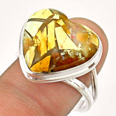 13.85cts solitaire natural brecciated mookaite 925 silver ring size 9 t54323