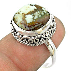 6.78cts solitaire natural bronze wild horse magnesite silver ring size 8 t55895