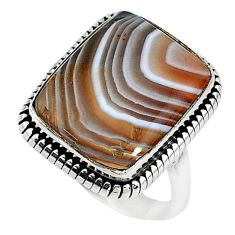 13.36cts solitaire natural brown botswana agate 925 silver ring size 8.5 t10402