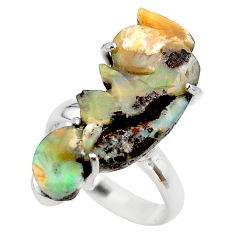 14.33cts solitaire natural brown boulder opal carving silver ring size 7 t24186
