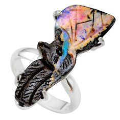 15.85cts solitaire natural brown boulder opal carving silver ring size 7 t24193