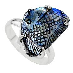 15.39cts solitaire natural brown boulder opal carving silver ring size 9 t24200