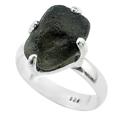 5.76cts solitaire natural brown chintamani saffordite silver ring size 6 t58087