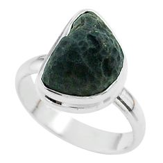5.84cts solitaire natural brown cintamani saffordite silver ring size 7 t58020