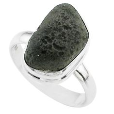 6.84cts solitaire natural brown cintamani saffordite silver ring size 8 t58011