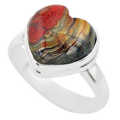 5.09cts solitaire natural brown moroccan seam agate silver ring size 7 t29204