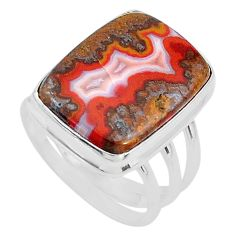 15.74cts solitaire natural brown moroccan seam agate silver ring size 8 t10367