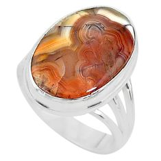 13.28cts solitaire natural brown moroccan seam agate silver ring size 8 t10370
