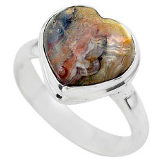 5.13cts solitaire natural brown moroccan seam agate silver ring size 8 t29206