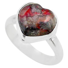 4.93cts solitaire natural brown moroccan seam agate silver ring size 8 t29207