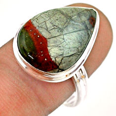 12.10cts solitaire natural brown mushroom rhyolite 925 silver ring size 9 t54481