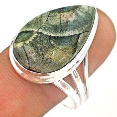 15.16cts solitaire natural brown mushroom rhyolite silver ring size 10 t54482