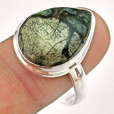 13.55cts solitaire natural brown mushroom rhyolite silver ring size 10 t54485