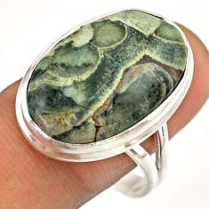 15.82cts solitaire natural brown mushroom rhyolite silver ring size 10 t54501