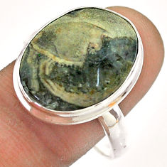 13.40cts solitaire natural brown mushroom rhyolite silver ring size 11 t54498