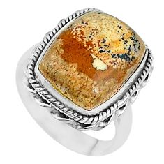 10.02cts solitaire natural brown picture jasper 925 silver ring size 7 t10353