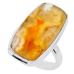 13.85cts solitaire natural brown plum wood jasper 925 silver ring size 6 t27710
