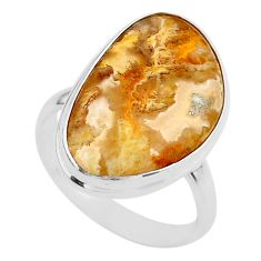 13.62cts solitaire natural brown plum wood jasper 925 silver ring size 9 t27713