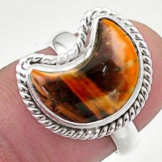 5.82cts solitaire natural brown tiger's eye 925 silver moon ring size 6 t47696