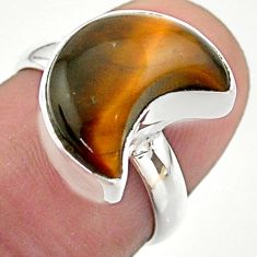 5.24cts solitaire natural brown tiger's eye 925 silver moon ring size 6 t47768