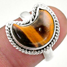 6.10cts solitaire natural brown tiger's eye 925 silver moon ring size 7 t47651