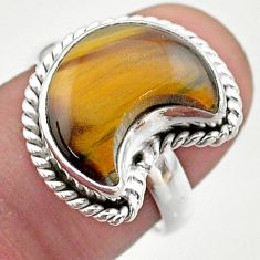 5.81cts solitaire natural brown tiger's eye 925 silver moon ring size 7 t47671