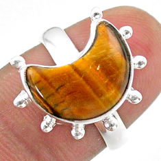 5.58cts solitaire natural brown tiger's eye 925 silver moon ring size 7 t47854