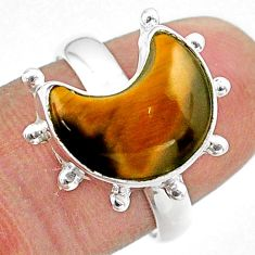 5.87cts solitaire natural brown tiger's eye 925 silver moon ring size 8 t47832