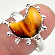 5.58cts solitaire natural brown tiger's eye 925 silver moon ring size 9 t47807