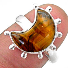 5.63cts solitaire natural brown tiger's eye 925 silver moon ring size 7.5 t47818