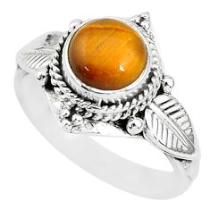 2.53cts solitaire natural brown tiger's eye 925 silver ring size 6 t3125