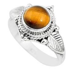 2.53cts solitaire natural brown tiger's eye 925 silver ring size 6 t3136