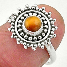 0.87cts solitaire natural brown tiger's eye 925 silver ring size 6 t3622