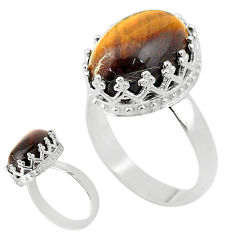 6.57cts solitaire natural brown tiger's eye 925 silver ring size 7 t20360