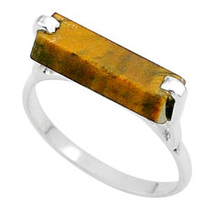 5.03cts solitaire natural brown tiger's eye 925 silver ring size 8 t36187