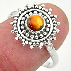 0.80cts solitaire natural brown tiger's eye 925 silver ring size 8 t3624