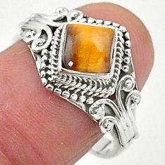 1.35cts solitaire natural brown tiger's eye 925 silver ring size 8 t3625