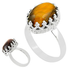 6.57cts solitaire natural brown tiger's eye 925 silver ring size 9 t20357